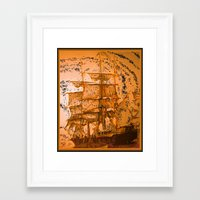 pirate ship Framed Art Prints featuring pirate ship by Vector Art