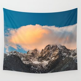 Burning clouds over the mountains Wall Tapestry