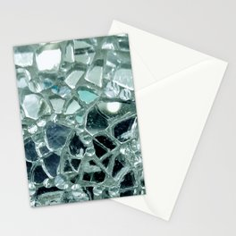 Icy Blue Mirror and Glass Mosaic Stationery Cards