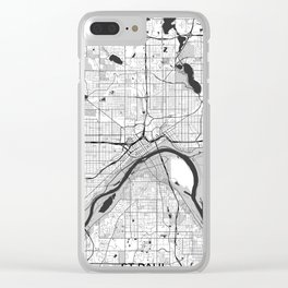 St Paul Map Gray Clear iPhone Case