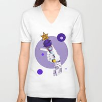 saturn V-neck T-shirts featuring Saturn by scoobtoobins