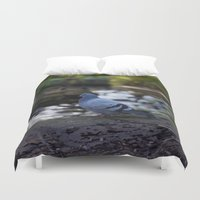 pigeon Duvet Covers featuring Pigeon by Elliott Kemp Photography
