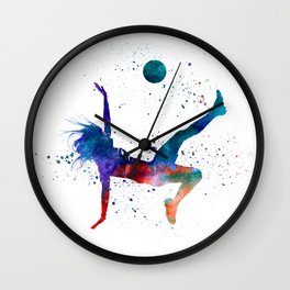 Woman soccer player 08 in watercolor Wall Clock