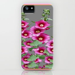 Fuchsia Pink Holly Hocks Grey Vinette iPhone Case