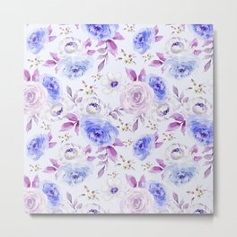 Blue and Violet Pastel Flowers Metal Print