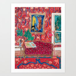 Red Interior with Lion and Tiger after Matisse Art Print