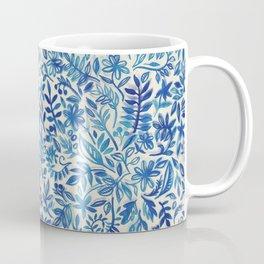 Floating Garden - a watercolor pattern in blue Coffee Mug