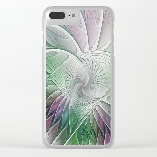 Colorful Fantasy Flower, Abstract Fractal Art Clear iPhone Case