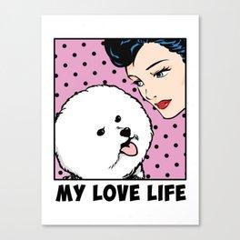 Love Life Comic Girl and Bichon Pop Art Canvas Print