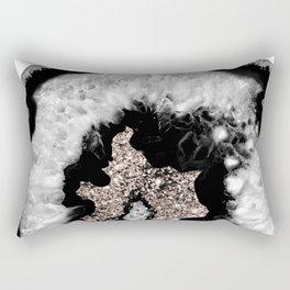 Gray Black White Agate Glitter Glamor #5 #gem #decor #art #society6 Rectangular Pillow