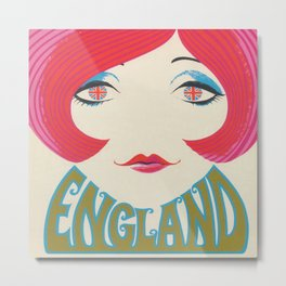 Groovy Girl Retro Vintage Art Metal Print