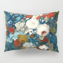 "Jan van Os  ""Flower still life with a bird's nest on a ledge"" Pillow Sham"
