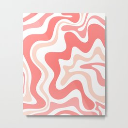 Liquid Swirl Retro Abstract Pattern in Blush Pink and White Metal Print