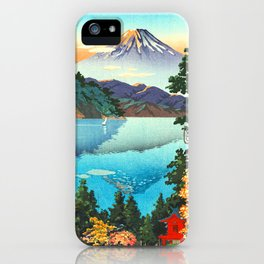 Tsuchiya Koitsu - Lake Ashi in the Hakone Hills in early Autumn - Japanese Vintage Woodblock iPhone Case