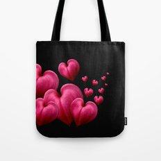 Dancing Hearts Black Tote Bag