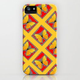 GOLDEN BUTTERFLIES RED- GREY LATTICE  DESIGN iPhone Case