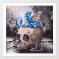 Captive Dragon On Skull Art Print
