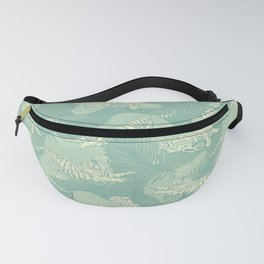 Tigers and Palm Leaves in Mint Green Fanny Pack