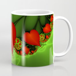 Dancing Red Hearts Fractal Art Coffee Mug