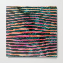 Pattern Play / Stripes on deep turquoise Metal Print