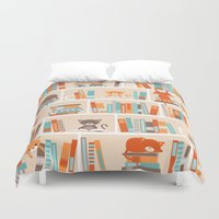 library Duvet Covers featuring Library cats by Heleen van Buul