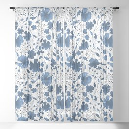 Blue Watercolour Floral Pattern Sheer Curtain