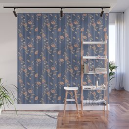 Retro . Floral pattern on a blue striped background . Wall Mural