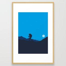 Hiker At Blue Winter Night Framed Art Print