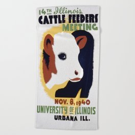 Vintage poster - 14th Illinois Cattle Feeders Meeting Beach Towel