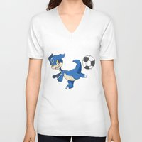 digimon V-neck T-shirts featuring Digimon - V-mon by Hacha
