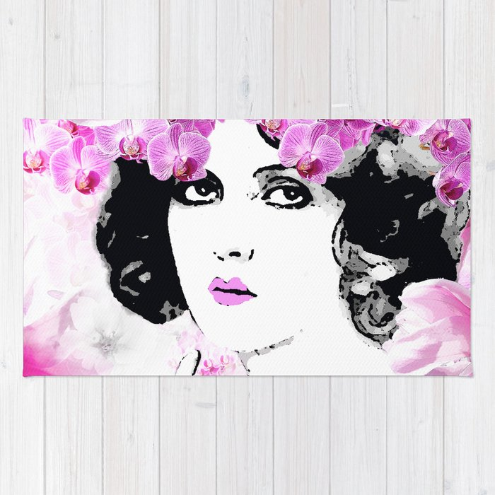WOMAN PINK ORCHIDS AND MAGNOLIAS Rug