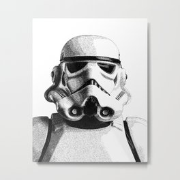 Stormtrooper Hand Drawn Dotwork - StarWars Pointillism Artwork Metal Print