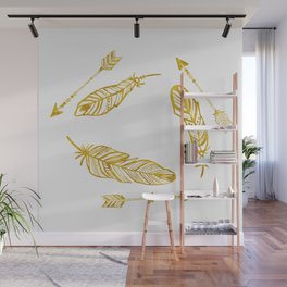 Golden Feathers and Arrows Wall Mural