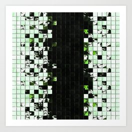 Green Accent Black And White Square Tiled Ceramic Mosaic Pattern Art Print