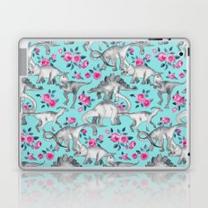 Dinosaurs and Roses - turquoise blue Laptop & iPad Skin