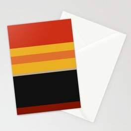A beautiful concoction of Dark Green Blue, Ming, Khaki (Html/Css) (Khaki), Lanzones, Urobilin, Brownish Orange, Vermilion, Kenyan Copper and Almost Black stripes. Stationery Cards