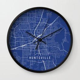 Huntsville Map, USA - Blue Wall Clock