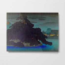 Vintage Japanese Woodblock Print Raining Landscape Tree On Rock Leaning Into The Lake Comforting Nig Metal Print