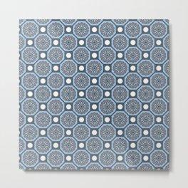 Flores de Algarve Portuguese Flower Azulejo Tile Pattern Metal Print