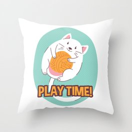 Play Time Chubby Cat Playing with String Throw Pillow