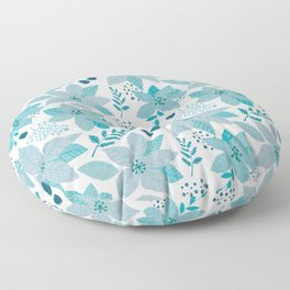 Serene Poinsettia Aqua Floor Pillow