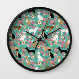 Chihuahua dog breed floral pet gifts perfect present for chihuahuas pure breed Wall Clock