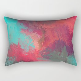 Passionate Firestorm Abstract Painting Rectangular Pillow