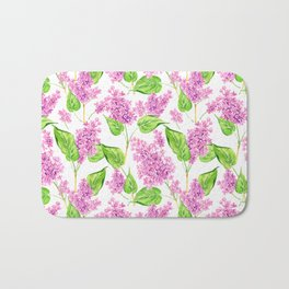 Pink watercolor lilac flowers Bath Mat