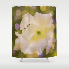 Sword Lily Green Bokeh Shower Curtain