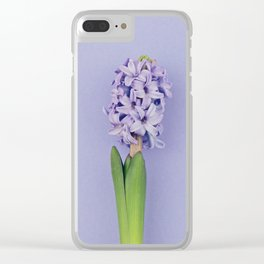 Blue hyacinth on purple Clear iPhone Case