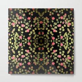 """""""Spring pink flowers and leaves - Black"""" Metal Print"""