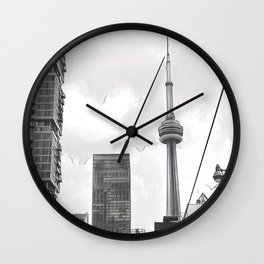 Monochrome Tower Wall Clock