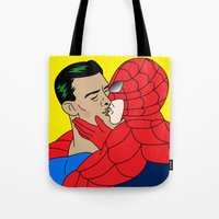 kiss Tote Bags featuring kiss  by mark ashkenazi