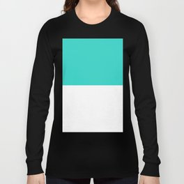 White and Turquoise Horizontal Halves Long Sleeve T-shirt